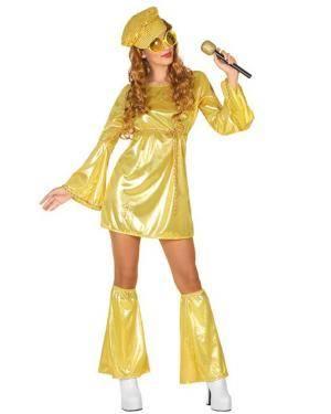 Fato de Mulher Disco Dourado Disfarces A Casa do Carnaval.pt