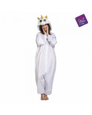 Fato de Olhos Grandes Unicornio Branco Adulto para Carnaval