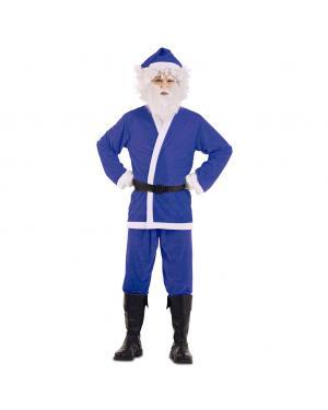 Fato de Pai Natal Azul para Carnaval