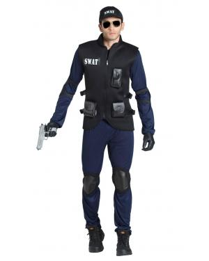 Fato de Polícia Swat Adulto para Carnaval