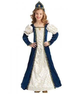 Fato de Princesa Medieval Azul Menina