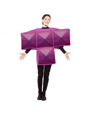 Fato de Tetris Roxo Adulto para Carnaval