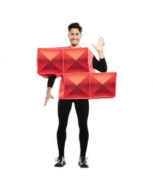 Fato de Tetris Vermelho Adulto para Carnaval