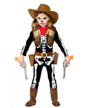 Fato de Vaqueira Esqueleto Menina
