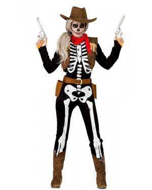 Fato de Vaqueira Esqueleto Mulher