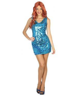 Fato Disco Azul Mulher Adulto M/L Disfarces A Casa do Carnaval.pt