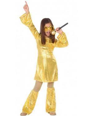 Fato Disco Dourado Menina para Carnaval