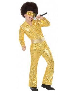 Fato Disco Dourado Menino para Carnaval