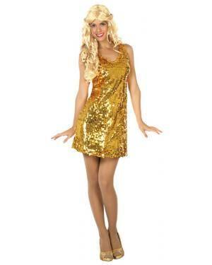 Fato Disco Dourado Mulher Adulto XS/S Disfarces A Casa do Carnaval.pt