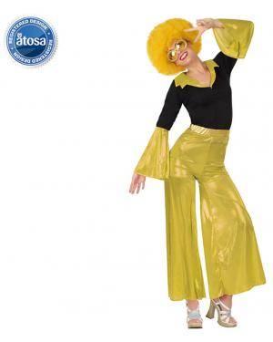 Fato Disco Mulher Dourado Adulto Disfarces A Casa do Carnaval.pt