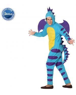 Fato Dragão Dinossauro Azul Adulto Disfarces A Casa do Carnaval.pt