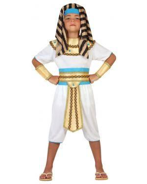 Fato Egipcio Branco Dourado Menino, Loja de Fatos Carnaval, Disfarces, Artigos para Festas, Acessórios de Carnaval, Mascaras, Perucas 437 acasadocarnaval.pt