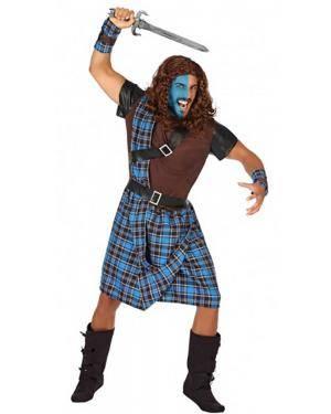 Fato Escocês Azul Adulto para Carnaval
