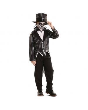 Fato Esqueleto Elegante Menino para Carnaval