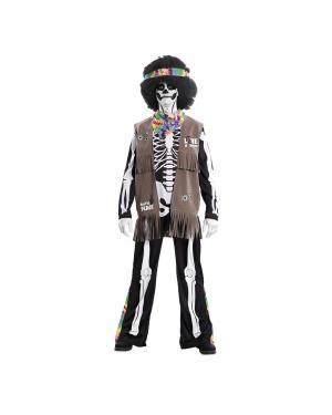Fato Esqueleto Hippie para Carnaval