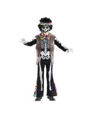 Fato Esqueleto Hippie Menino para Carnaval