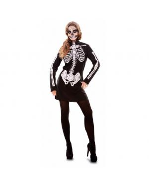Fato Esqueleto Mulher Adulto para Carnaval