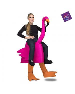 Fato Flamingo Rosa  Ás Costas M/L para Carnaval