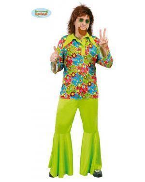 Fato Hippie Flower Power para Homen, Loja de Fatos Carnaval, Disfarces, Artigos para Festas, Acessórios de Carnaval, Mascaras, Perucas 758 acasadocarnaval.pt