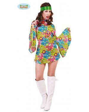 Fato Hippie Flower Power para Mulher, Loja de Fatos Carnaval, Disfarces, Artigos para Festas, Acessórios de Carnaval, Mascaras, Perucas 362 acasadocarnaval.pt
