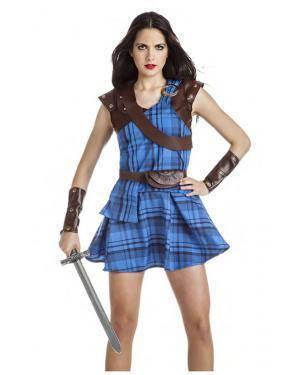 Fato Guerreira Escocêsa Azul T. M/L Disfarces A Casa do Carnaval.pt