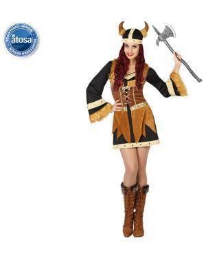 Fato Guerreira Viking Castanha Adulto Disfarces A Casa do Carnaval.pt