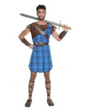 Fato Guerreiro Escocês Azul T. M/L Disfarces A Casa do Carnaval.pt