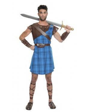 Fato Guerreiro Escocês Azul T. XL Disfarces A Casa do Carnaval.pt