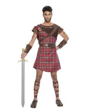 Fato Guerreiro Escocês Vermelho T. XL Disfarces A Casa do Carnaval.pt