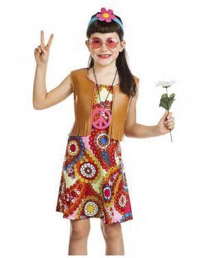 Fato Hippie Colete Menina 5-6 Anos Disfarces A Casa do Carnaval.pt