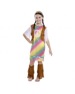 Fato Hippie de Arco Iris Menina para Carnaval