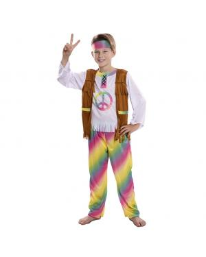 Fato Hippie de Arco Iris Menino para Carnaval