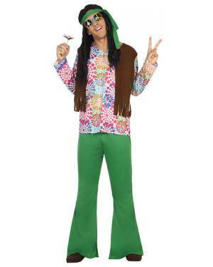 Fato Hippie Flores Homem Adulto XS/S Disfarces A Casa do Carnaval.pt