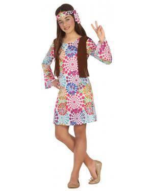 Fato Hippie Flores Menina de 7-9 anos Disfarces A Casa do Carnaval.pt
