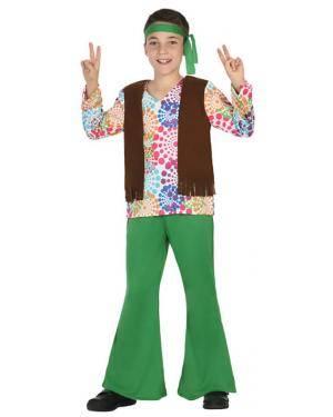 Fato Hippie Flores Menino de 10-12 anos Disfarces A Casa do Carnaval.pt