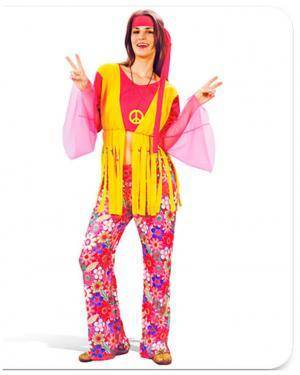 Fato Hippie Flores Mulher Adulto Disfarces A Casa do Carnaval.pt