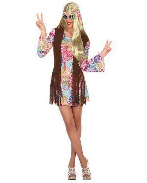 Fato Hippie Flores Mulher Adulto M/L Disfarces A Casa do Carnaval.pt