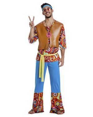 Fato Hippie Homem Anos 60 T. XL Disfarces A Casa do Carnaval.pt