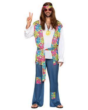 Fato Hippie Jeans Homem Adulto, Loja de Fatos Carnaval, Disfarces, Artigos para Festas, Acessórios de Carnaval, Mascaras, Perucas 432 acasadocarnaval.pt