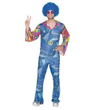 Fato Hippie Jeans Homem Adulto M/L Disfarces A Casa do Carnaval.pt