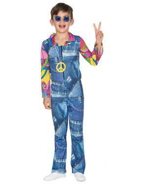 Fato Hippie Jeans Menino de 7-9 anos Disfarces A Casa do Carnaval.pt