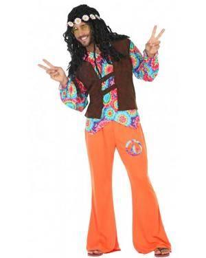 Fato Hippie Laranja Adulto para Carnaval