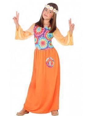 Fato Hippie Laranja Menina para Carnaval