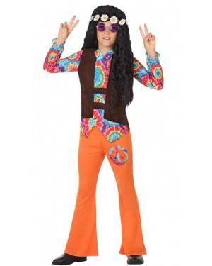 Fato Hippie Laranja Menino para Carnaval