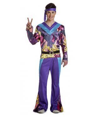 Fato Hippie Lila Homem T. S Disfarces A Casa do Carnaval.pt
