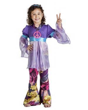 Fato Hippie Lilas Menina 7-9 Anos Disfarces A Casa do Carnaval.pt