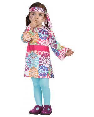 Fato Hippie Menina Bebé de 0-6 meses Disfarces A Casa do Carnaval.pt