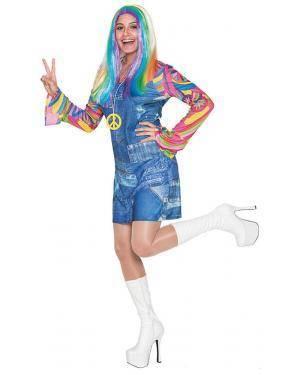 Fato Hippie Saia Jeans Adulto M/L Disfarces A Casa do Carnaval.pt