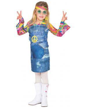 Fato Hippie Saia Jeans Menina de 4-6 anos Disfarces A Casa do Carnaval.pt