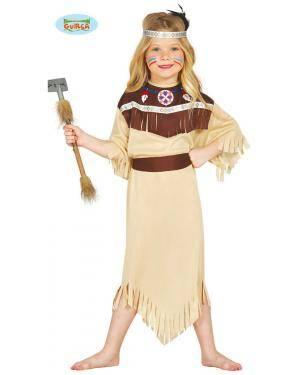Fato India Cherokee para Menina, Loja de Fatos Carnaval, Disfarces, Artigos para Festas, Acessórios de Carnaval, Mascaras, Perucas 545 acasadocarnaval.pt